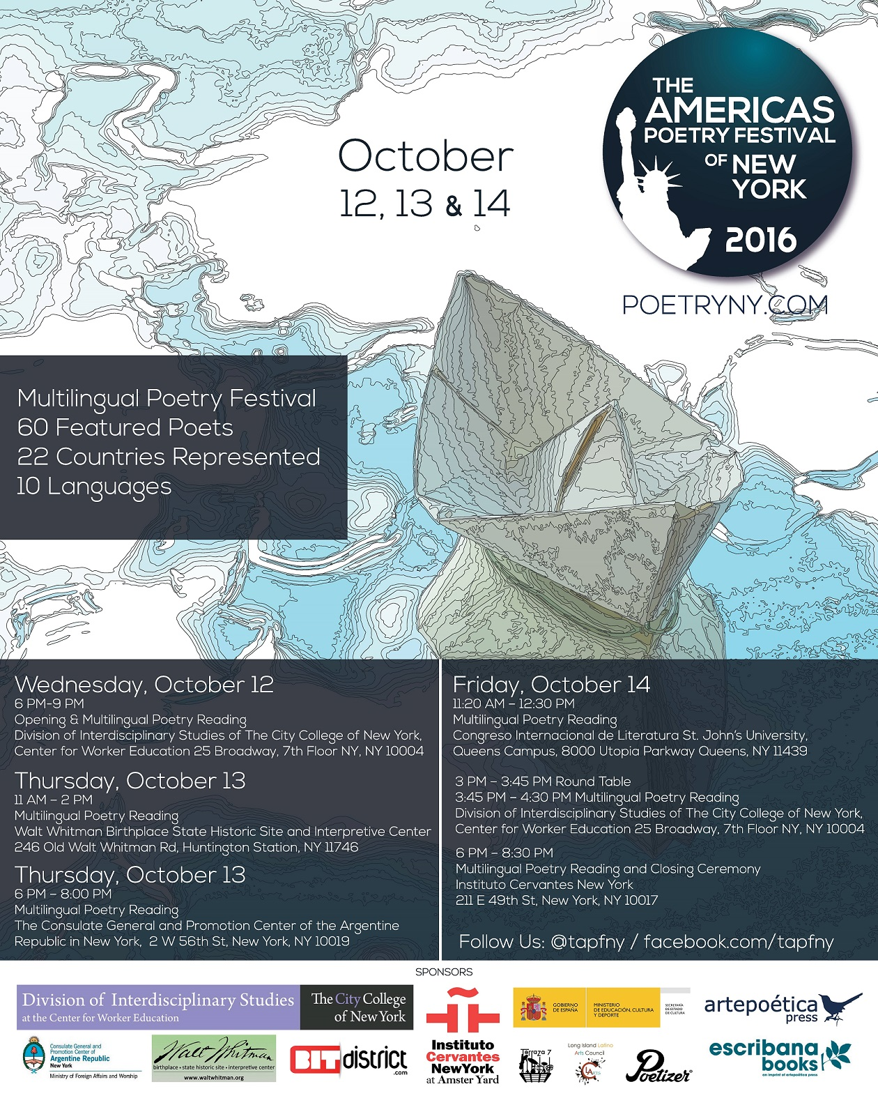 The Americas Poetry Festival of New York 2016 Poster and Program